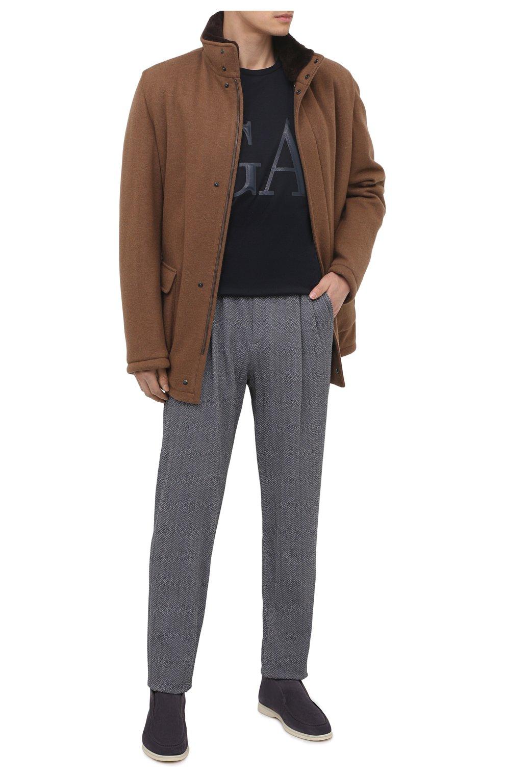 Мужские замшевые ботинки open walk LORO PIANA серого цвета, арт. FAB4368 | Фото 2 (Мужское Кросс-КТ: Ботинки-обувь; Материал внутренний: Натуральная кожа; Подошва: Плоская; Материал внешний: Замша)