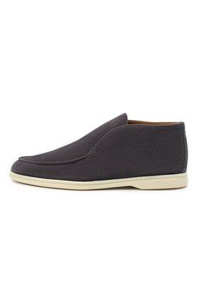 Мужские замшевые ботинки open walk LORO PIANA серого цвета, арт. FAB4368 | Фото 3 (Мужское Кросс-КТ: Ботинки-обувь; Материал внутренний: Натуральная кожа; Подошва: Плоская; Материал внешний: Замша)