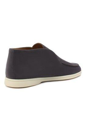 Мужские замшевые ботинки open walk LORO PIANA серого цвета, арт. FAB4368 | Фото 4 (Мужское Кросс-КТ: Ботинки-обувь; Материал внутренний: Натуральная кожа; Подошва: Плоская; Материал внешний: Замша)
