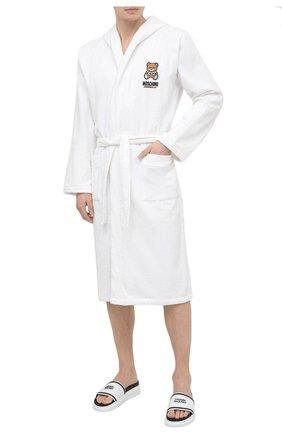 Мужской хлопковый халат MOSCHINO белого цвета, арт. A7301/8140 | Фото 2