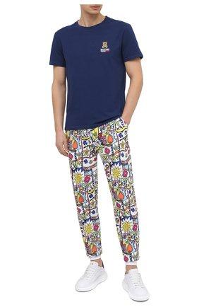 Мужская хлопковая футболка MOSCHINO темно-синего цвета, арт. A1905/8119 | Фото 2