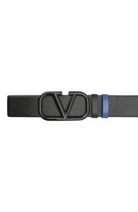 Мужской кожаный ремень VALENTINO черного цвета, арт. VY2T0Q87/UXT   Фото 3