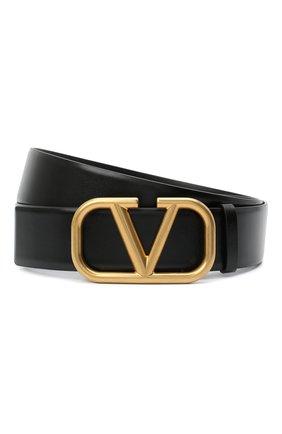 Мужской кожаный ремень VALENTINO черного цвета, арт. VY2T0Q87/ECU | Фото 1