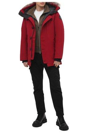Мужская пуховая парка chateau с меховой отделкой CANADA GOOSE красного цвета, арт. 3426MB   Фото 2