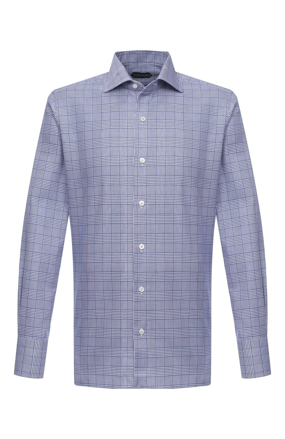 Мужская хлопковая сорочка TOM FORD синего цвета, арт. 9FT153/94S3AX   Фото 1