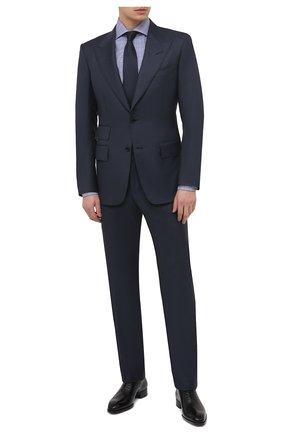 Мужская хлопковая сорочка TOM FORD синего цвета, арт. 9FT153/94S3AX | Фото 2 (Материал внешний: Хлопок; Манжеты: На пуговицах; Принт: Клетка; Стили: Классический; Рукава: Длинные; Мужское Кросс-КТ: Сорочка-одежда; Рубашки М: Slim Fit; Длина (для топов): Стандартные; Случай: Формальный; Воротник: Акула)