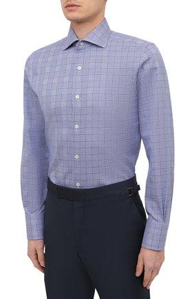 Мужская хлопковая сорочка TOM FORD синего цвета, арт. 9FT153/94S3AX   Фото 3