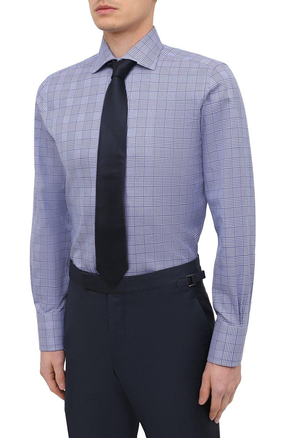 Мужская хлопковая сорочка TOM FORD синего цвета, арт. 9FT153/94S3AX   Фото 4