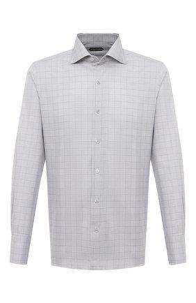 Мужская хлопковая сорочка TOM FORD светло-серого цвета, арт. 9FT150/94S3AX | Фото 1 (Рукава: Длинные; Мужское Кросс-КТ: Сорочка-одежда; Материал внешний: Хлопок; Рубашки М: Slim Fit; Принт: Клетка; Случай: Формальный; Стили: Классический; Длина (для топов): Стандартные; Манжеты: На пуговицах; Воротник: Акула)