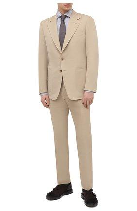 Мужская хлопковая сорочка TOM FORD светло-серого цвета, арт. 9FT150/94S3AX | Фото 2 (Рукава: Длинные; Мужское Кросс-КТ: Сорочка-одежда; Материал внешний: Хлопок; Рубашки М: Slim Fit; Принт: Клетка; Случай: Формальный; Стили: Классический; Длина (для топов): Стандартные; Манжеты: На пуговицах; Воротник: Акула)