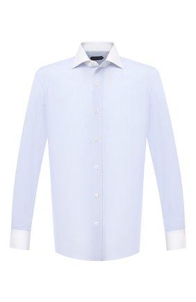 Мужская хлопковая сорочка TOM FORD синего цвета, арт. 9FT022/94SWAX | Фото 1 (Мужское Кросс-КТ: Сорочка-одежда; Материал внешний: Хлопок; Стили: Классический; Манжеты: На пуговицах; Рубашки М: Slim Fit; Длина (для топов): Стандартные; Принт: Полоска; Рукава: Длинные; Случай: Формальный; Воротник: Акула)