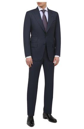 Мужская хлопковая сорочка TOM FORD синего цвета, арт. 9FT022/94SWAX | Фото 2 (Мужское Кросс-КТ: Сорочка-одежда; Материал внешний: Хлопок; Стили: Классический; Манжеты: На пуговицах; Рубашки М: Slim Fit; Длина (для топов): Стандартные; Принт: Полоска; Рукава: Длинные; Случай: Формальный; Воротник: Акула)