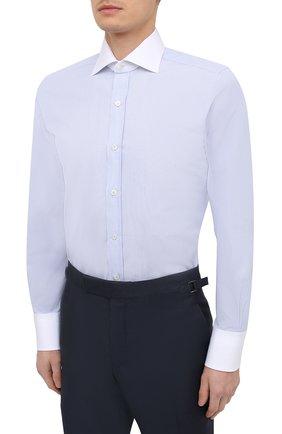 Мужская хлопковая сорочка TOM FORD синего цвета, арт. 9FT022/94SWAX   Фото 3