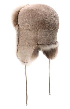 Женская шапка-ушанка из меха норки KUSSENKOVV бежевого цвета, арт. 91913694093 | Фото 2