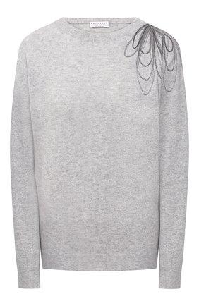Женский кашемировый пуловер BRUNELLO CUCINELLI серого цвета, арт. M12176200 | Фото 1