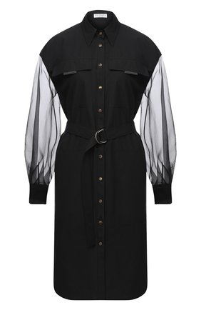Женское платье из хлопка и шелка BRUNELLO CUCINELLI черного цвета, арт. MH127AFM31 | Фото 1
