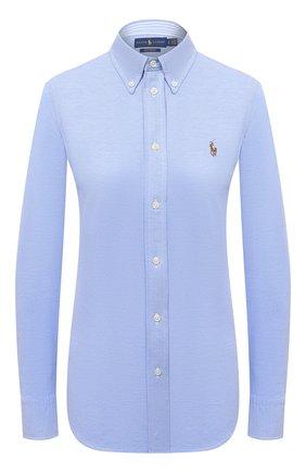 Женская хлопковая рубашка POLO RALPH LAUREN голубого цвета, арт. 211664427 | Фото 1