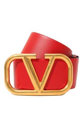Женский кожаный ремень  VALENTINO бордового цвета, арт. VW2T0S10/ZFR | Фото 1 (Материал: Кожа)