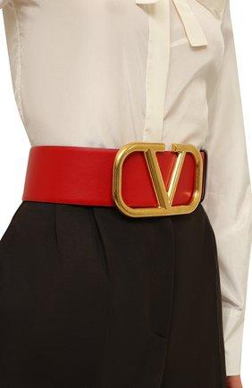 Женский кожаный ремень  VALENTINO бордового цвета, арт. VW2T0S10/ZFR | Фото 2 (Материал: Кожа)