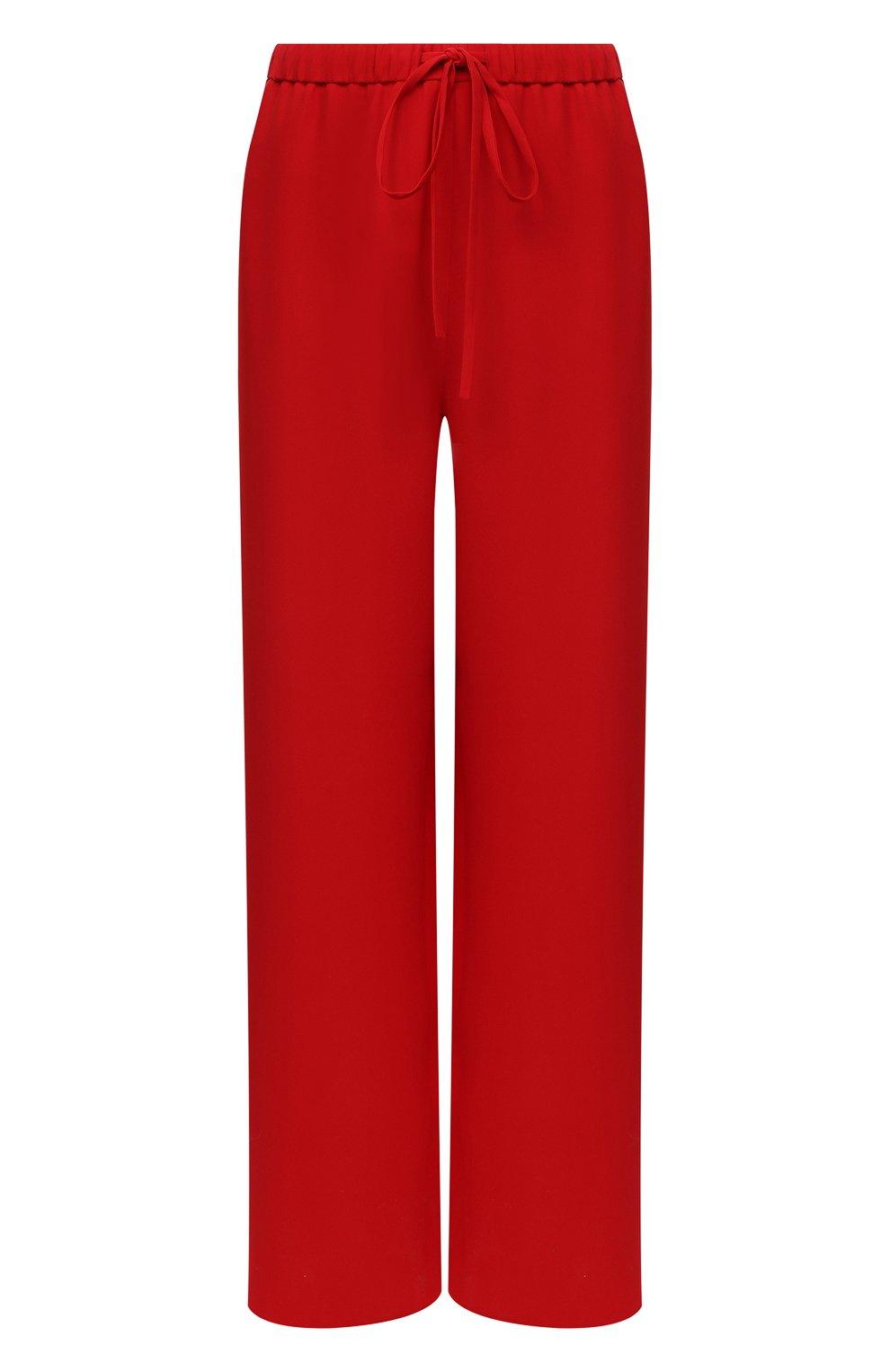 Женские шелковые брюки VALENTINO красного цвета, арт. VB3RB4551MM | Фото 1