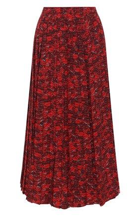Женская шелковая юбка VALENTINO красного цвета, арт. VB3RA74062W | Фото 1