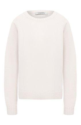 Женский кашемировый свитер VALENTINO кремвого цвета, арт. VB3KCB80652 | Фото 1 (Женское Кросс-КТ: Свитер-одежда; Материал внешний: Шерсть, Кашемир; Стили: Классический; Рукава: Длинные; Длина (для топов): Стандартные)