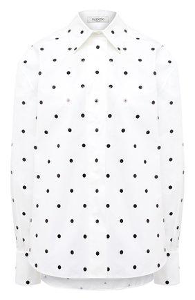 Женская хлопковая рубашка VALENTINO белого цвета, арт. VB3AB1U55DN | Фото 1