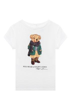 Детский хлопковая футболка RALPH LAUREN белого цвета, арт. 310799106 | Фото 1
