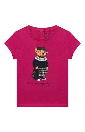 Детский хлопковая футболка RALPH LAUREN фуксия цвета, арт. 310802624 | Фото 1