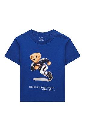 Детский хлопковая футболка RALPH LAUREN синего цвета, арт. 320799045 | Фото 1