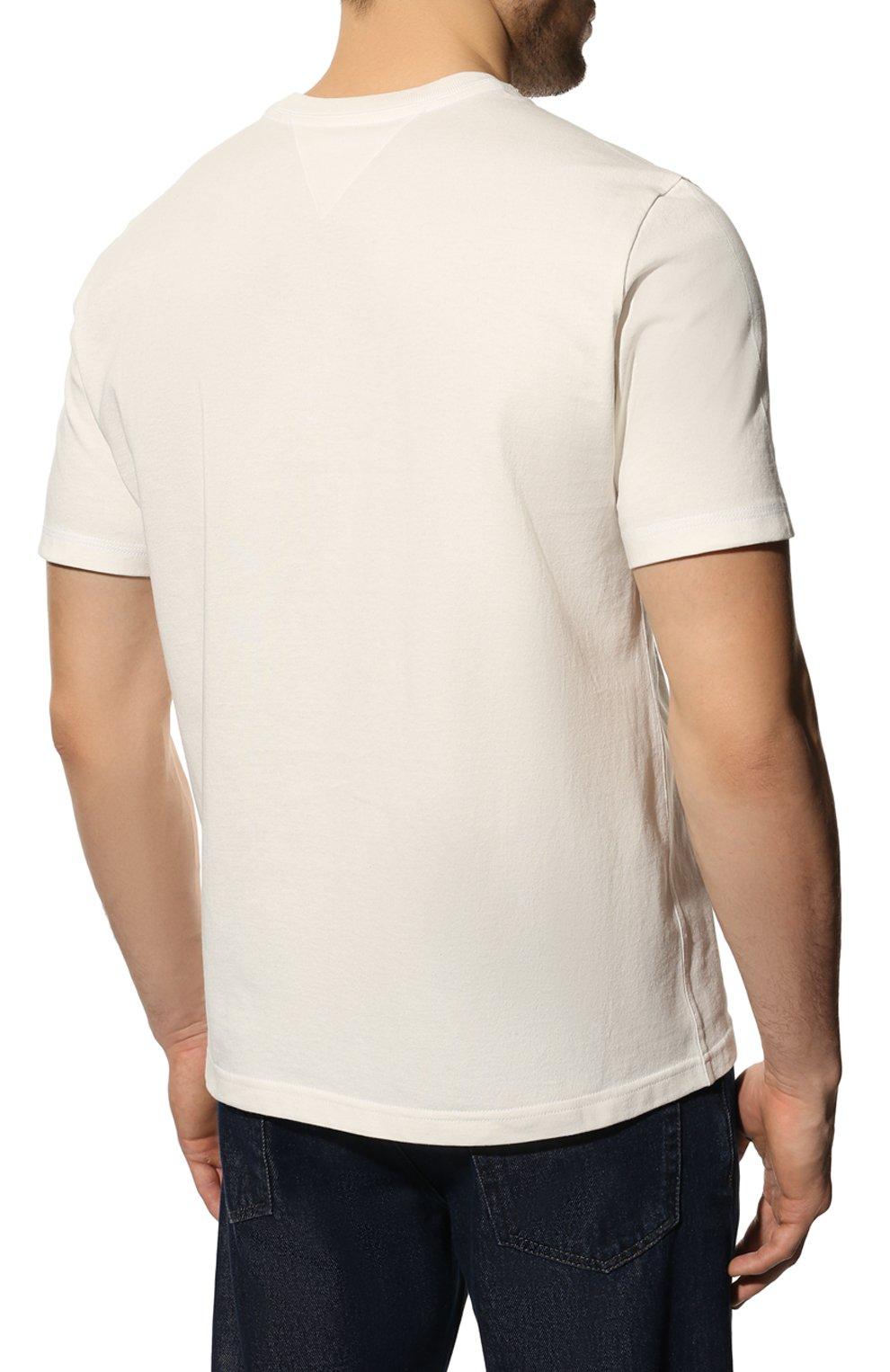 Мужская хлопковая футболка BOTTEGA VENETA белого цвета, арт. 649055/VF1U0 | Фото 4 (Принт: Без принта; Рукава: Короткие; Длина (для топов): Стандартные; Мужское Кросс-КТ: Футболка-одежда; Материал внешний: Хлопок; Стили: Минимализм)