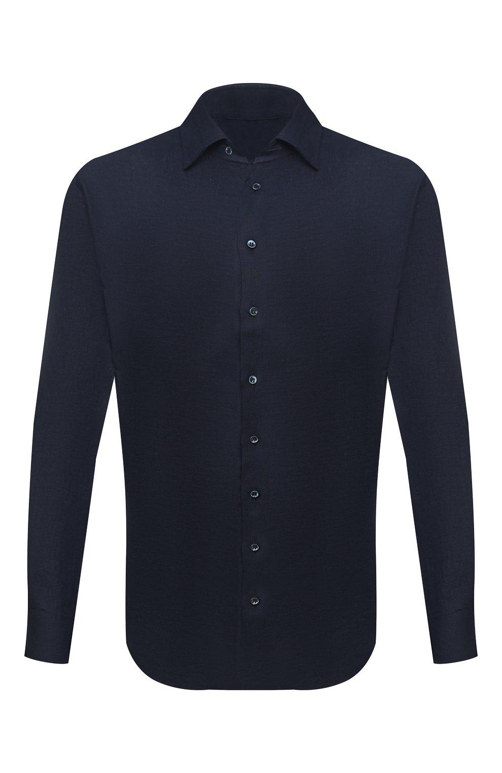 Мужская льняная рубашка GIORGIO ARMANI темно-синего цвета, арт. 8WGCCZMC/TZ256   Фото 1