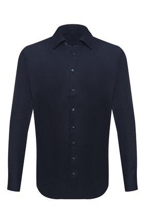 Мужская льняная рубашка GIORGIO ARMANI темно-синего цвета, арт. 8WGCCZMC/TZ256 | Фото 1