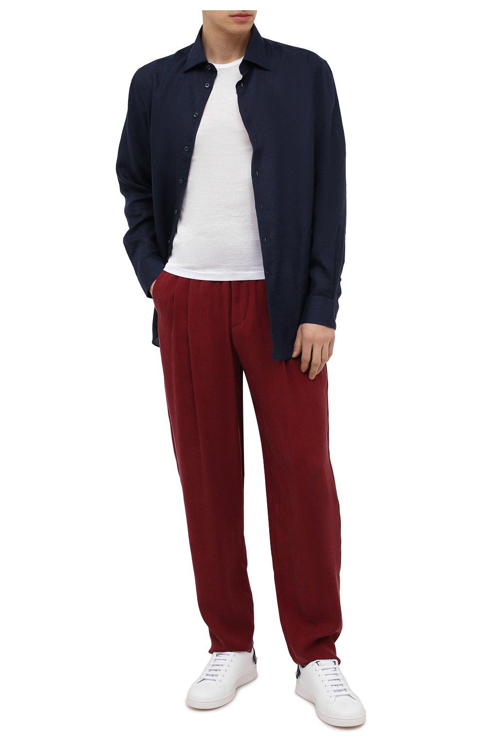 Мужская льняная рубашка GIORGIO ARMANI темно-синего цвета, арт. 8WGCCZMC/TZ256   Фото 2