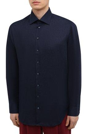 Мужская льняная рубашка GIORGIO ARMANI темно-синего цвета, арт. 8WGCCZMC/TZ256   Фото 3