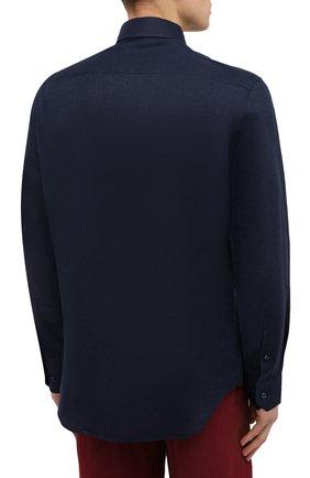 Мужская льняная рубашка GIORGIO ARMANI темно-синего цвета, арт. 8WGCCZMC/TZ256   Фото 4