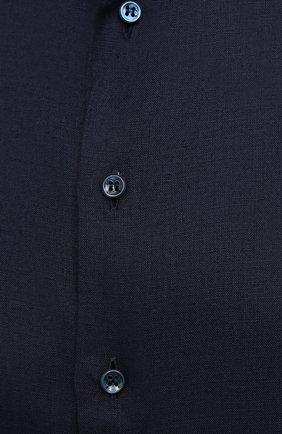 Мужская льняная рубашка GIORGIO ARMANI темно-синего цвета, арт. 8WGCCZMC/TZ256   Фото 5
