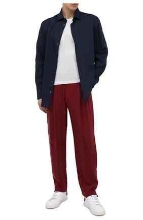 Мужские брюки GIORGIO ARMANI бордового цвета, арт. 1SGPP0HS/T00AB | Фото 2 (Материал внешний: Купро; Случай: Повседневный; Стили: Кэжуэл; Длина (брюки, джинсы): Стандартные)
