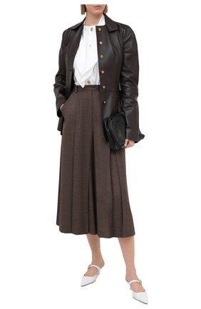 Женские кожаные мюли LOEWE белого цвета, арт. L814S01X14   Фото 2