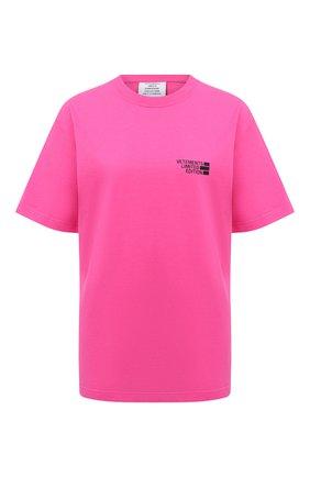 Женская хлопковая футболка VETEMENTS фуксия цвета, арт. UE51TR720P 1611/W | Фото 1