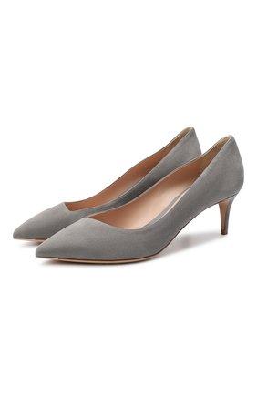 Женские замшевые туфли GIORGIO ARMANI светло-серого цвета, арт. X1E718/XC067 | Фото 1 (Материал внутренний: Натуральная кожа; Каблук высота: Низкий; Подошва: Плоская; Каблук тип: Kitten heel; Материал внешний: Замша)