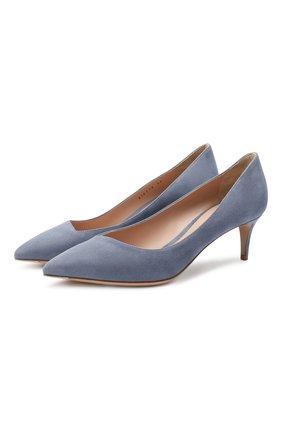 Женские замшевые туфли GIORGIO ARMANI голубого цвета, арт. X1E718/XC067 | Фото 1