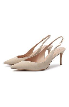 Женские замшевые туфли GIORGIO ARMANI бежевого цвета, арт. X1E891/XC067 | Фото 1 (Подошва: Плоская; Материал внутренний: Натуральная кожа; Каблук высота: Средний; Материал внешний: Замша; Каблук тип: Шпилька)