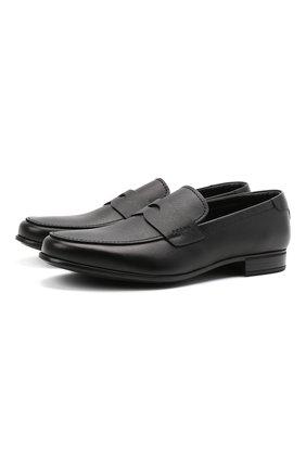 Мужские кожаные пенни-лоферы PRADA черного цвета, арт. 2DC213-053-F0002-G000   Фото 1