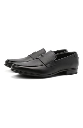 Мужские кожаные пенни-лоферы PRADA черного цвета, арт. 2DC213-053-F0002-G000 | Фото 1