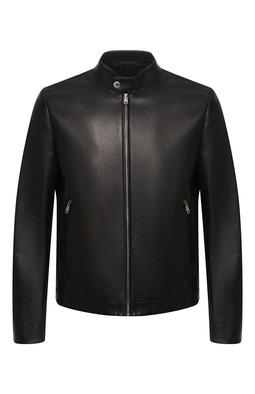 Мужская кожаная куртка PRADA черного цвета, арт. UPW226-1F21-F0002   Фото 1 (Кросс-КТ: Куртка; Рукава: Длинные; Мужское Кросс-КТ: Кожа и замша; Длина (верхняя одежда): Короткие; Стили: Кэжуэл)