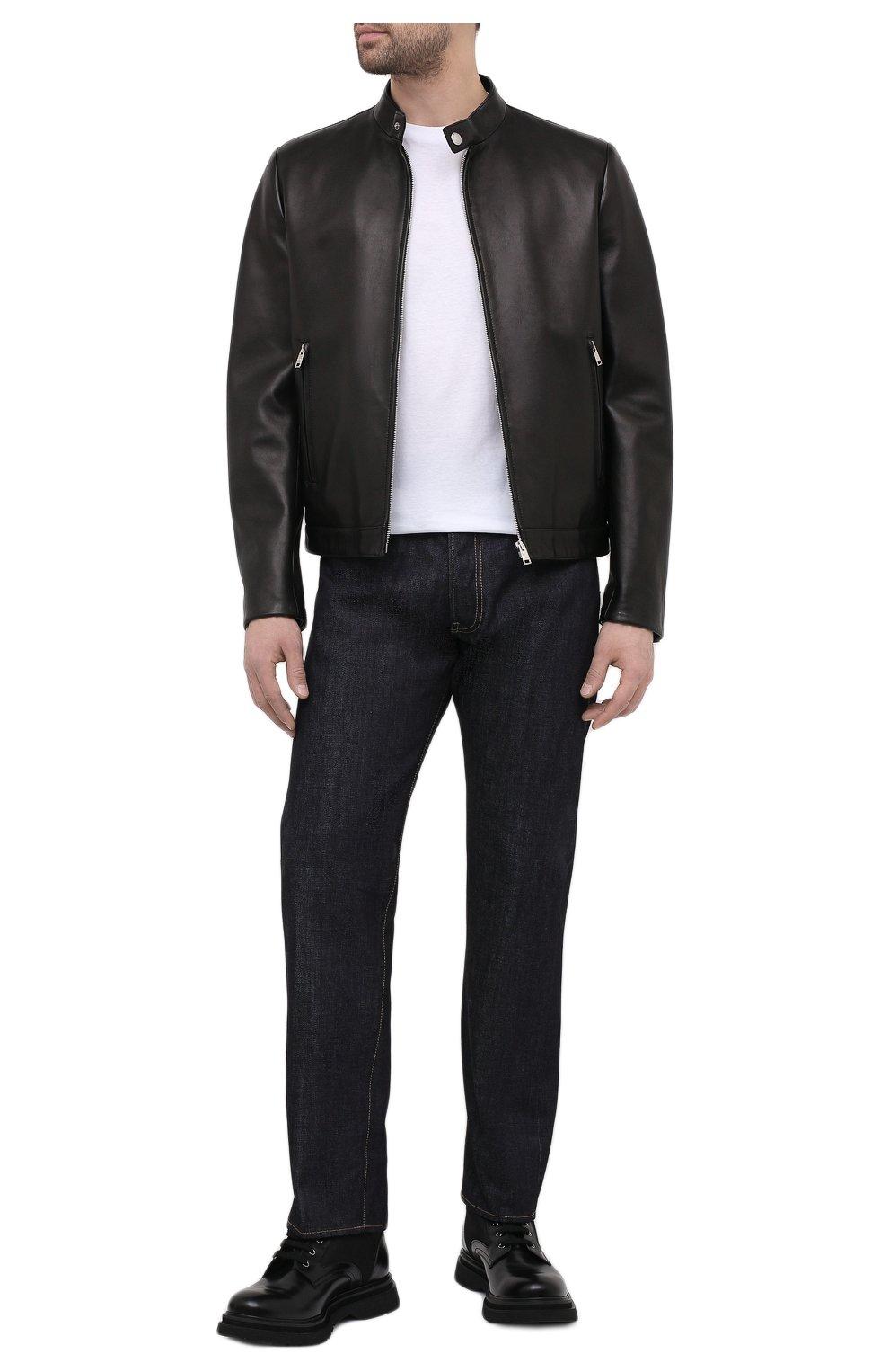 Мужская кожаная куртка PRADA черного цвета, арт. UPW226-1F21-F0002   Фото 2 (Кросс-КТ: Куртка; Рукава: Длинные; Мужское Кросс-КТ: Кожа и замша; Длина (верхняя одежда): Короткие; Стили: Кэжуэл)