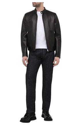 Мужская кожаная куртка PRADA черного цвета, арт. UPW226-1F21-F0002 | Фото 2