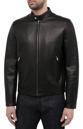 Мужская кожаная куртка PRADA черного цвета, арт. UPW226-1F21-F0002   Фото 3 (Кросс-КТ: Куртка; Рукава: Длинные; Мужское Кросс-КТ: Кожа и замша; Длина (верхняя одежда): Короткие; Стили: Кэжуэл)
