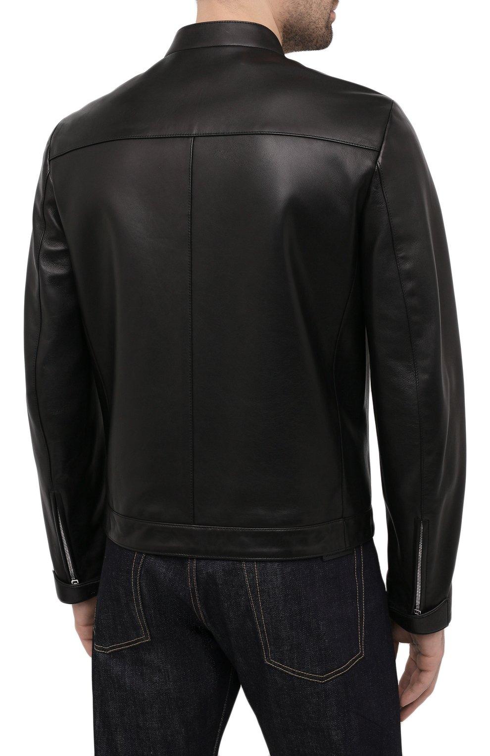 Мужская кожаная куртка PRADA черного цвета, арт. UPW226-1F21-F0002   Фото 4 (Кросс-КТ: Куртка; Рукава: Длинные; Мужское Кросс-КТ: Кожа и замша; Длина (верхняя одежда): Короткие; Стили: Кэжуэл)